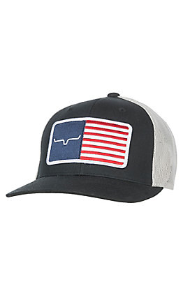 Kimes Ranch Black American Flag Trucker Cap