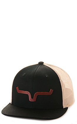 Kimes Ranch ATG Black and Cream with Leather Horns Trucker Cap