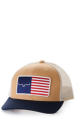 Kimes Ranch American Trucker Brown and Navy with American Flag Patch Cap
