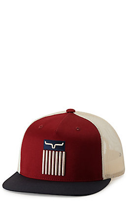 Kimes Ranch Cody Burgundy and Navy with Flag Embroidery Cap