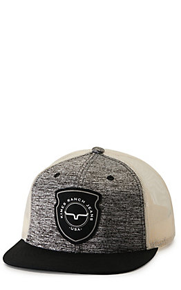 Kimes Ranch Relative Trucker Heather Black and Cream with Black Arrowhead Patch Cap