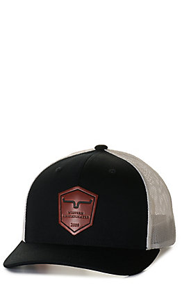 Kimes Ranch Black and White with Leather Logo Patch Cap