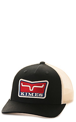 Kimes Ranch Service First Black and Cream with Logo Patch Trucker Cap
