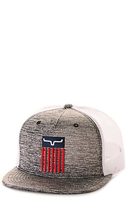 Kimes Ranch Cody Heather Grey and White with American Flag Trucker Cap