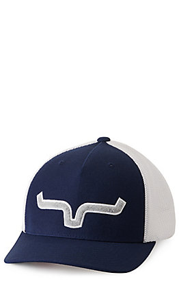 Kimes Ranch Navy and White with Silver Logo Embroidery Cap
