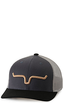Kimes Ranch Weekly Trucker Dark Grey and Grey with Gold Logo Cap