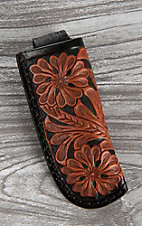 Dark Brown with Tan Floral Embossed Details Knife Sheath