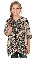 Flying Tomato Girl's Taupe & Black Paisley Sweater