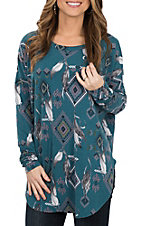 Peach Love Women's Teal Feather Aztec Print Long Dolman Sleeve Casual Knit Shirt