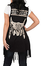 Cowgirl Legend Women's Black Skull with Fringe Vest