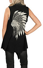 Cowgirl Legend Women's Black with Indian Headdress Skull Vest