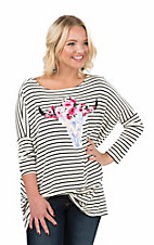 Peach Love Women's White and Black Stripe with Floral Steerhead Screen Print Long Dolman Sleeve Tunic Top