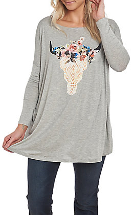 Berry N Cream Women's Grey Dolman Skull Screen Print Casual Knit Top