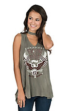 Peach Love Women's Dark Olive Eagle with Flags Screenprint Tank