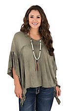 Peach Love Women's Olive Babydoll V-Neck Fashion Top