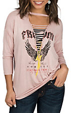 Peach Love Women's Dusty Pink Choker Lace Up Freedom Casual Knit Shirt