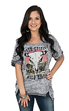Berry N Cream Women's Grey Free Spirit Skull Casual Knit Shirt