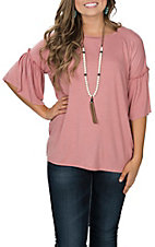 Berry N Cream Women's Solid Mauve Ruffle Sleeve Casual Knit Shirt