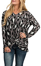Peach Love Women's Charcoal Leopard Print Fashion Shirt