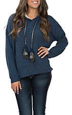 Peach Love Women's Denim Navy Pullover Hoodie