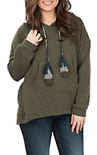 Peach Love Women's Dark Olive Pullover Hoodie