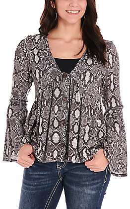 Peach Love Women's Charcoal & White Snake Print Button V-Neck Long Bell Sleeves Knit Fashion Top