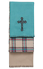 HiEnd Accents Turquoise Cross Kitchen Towel Set