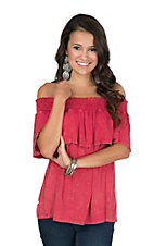 Fantastic Fawn Women's Red Mineral Wash Off Shoulder Fashion Top