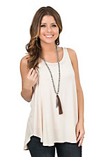 Peach Love Women's Ivory Sleeveless Casual Knit Top