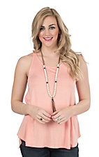 Peach Love Women's Peach Sleeveless Casual Knit Top