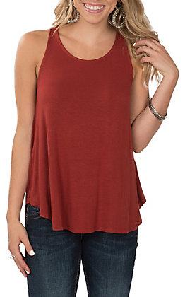Peach Love Women's Solid Rust Tank Casual Knit Shirt
