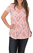 Berry N Cream Women's Mauve Pink Aztec Skull Print Short Sleeve Casual Knit Shirt