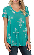 Peach Love Women's Teal Cross Short Sleeve Fashion Shirt
