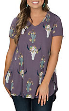 Berry N Cream Women's Purple Skull Print Fashion Shirt