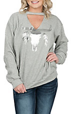 Peach Love Women's Grey Skull Casual Knit Sweatshirt