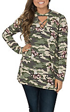 Berry N Cream Women's Camo Skull Print Fashion Shirt