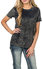 Peach Love Women's Charcoal Velvet Short Sleeve Fashion Shirt