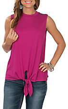 Berry N Cream Women's Fucshia Sleeveless Front Tie Casual Knit Shirt
