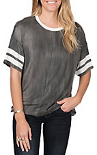 Peach Love Women's Charcoal Varsity Tee