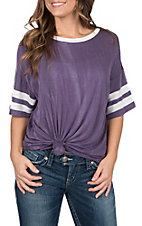 Peach Love Women's Purple Varsity Tee