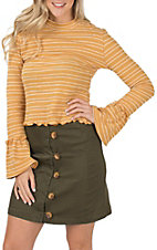 Women's Berry N Cream Mustard Stripe Zipper Long Sleeve Top