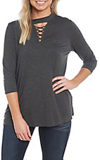 Berry N Cream Women's Charcoal Criss Cross Casual Knit Top