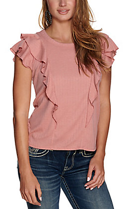 Berry N Cream Women's Dusty Pink with Ruffles Short Sleeve Knit Top