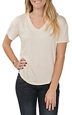 Berry N Cream Women's Solid Cream Short Sleeve V-Neck Shirt
