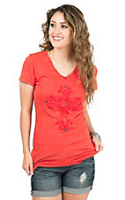 Wired Heart Women's Coral with Cross Cap Sleeve Casual Knit Top
