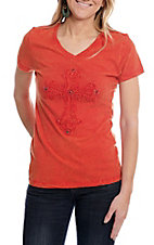 Cowgirl Legend Orange V-Neck with Cross Top