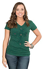 Wired Heart Women's Green with Cross Cap Sleeve Casual Knit Top