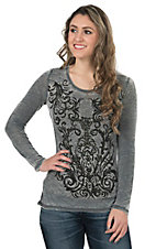 Wired Heart Women's Charcoal Burnout with Embellished Scrollwork Long Sleeve Shirt
