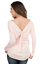 Peach Love Women's Blush with Knot on Back Long Sleeve Casual Knit Top