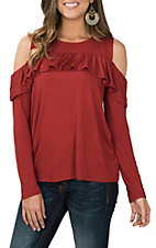 Peach Love Women's Rust Ruffled Cold Shoulder Long Sleeve Casual Knit Top